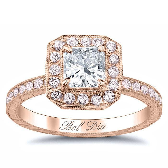 Halo Engagement Ring with Pink Diamonds Halo Engagement Rings deBebians