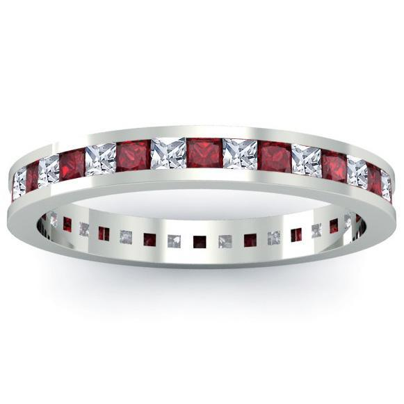 Eternity Ring with Garnets and Diamonds Gemstone Eternity Rings deBebians