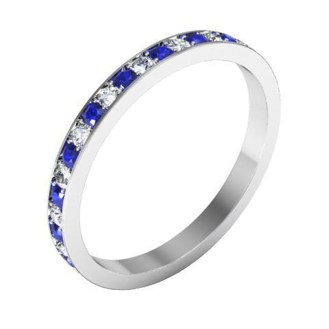 Eternity Ring with Pave Blue Sapphires and Diamonds (0.50 cttw) Gemstone Eternity Rings deBebians