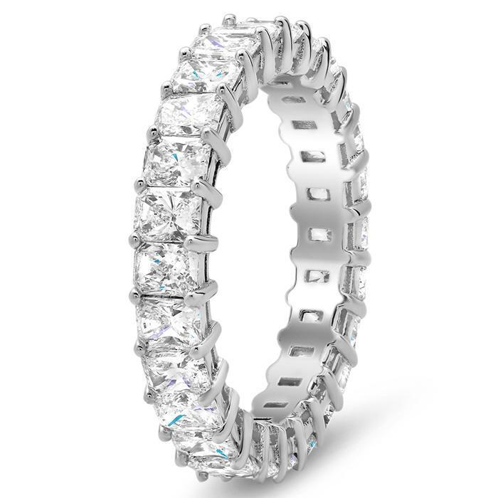 Radiant Cut Shared Prong Diamond Eternity Band - 3.00 carat - SI Clarity Diamond Eternity Rings deBebians
