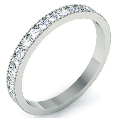 Round Micro Pave Set Milgrain Diamond Eternity Band - 0.85 carat - SI Clarity Diamond Eternity Rings deBebians