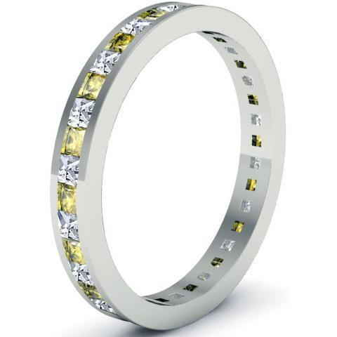 Eternity Ring with Yellow Sapphires and Diamonds Gemstone Eternity Rings deBebians