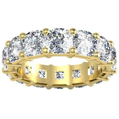 Cushion Cut Shared Prong Diamond Eternity Band - 10.00 carat Diamond Eternity Rings deBebians