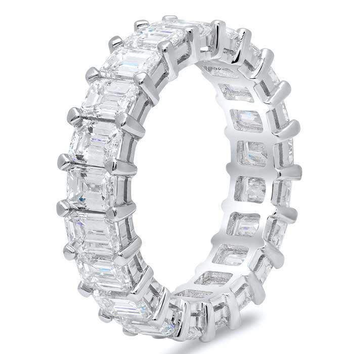 Emerald Cut Shared Prong Diamond Eternity Band - 5.00 carat Diamond Eternity Rings DeBebians