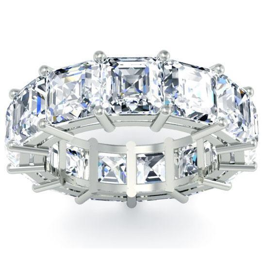 Asscher Cut Shared Prong Diamond Eternity Band - 10.00 carat - VS Clarity Diamond Eternity Rings deBebians