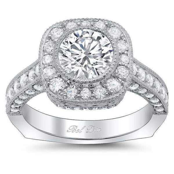 Round Euro Shank Engagement Ring With Square Halo
