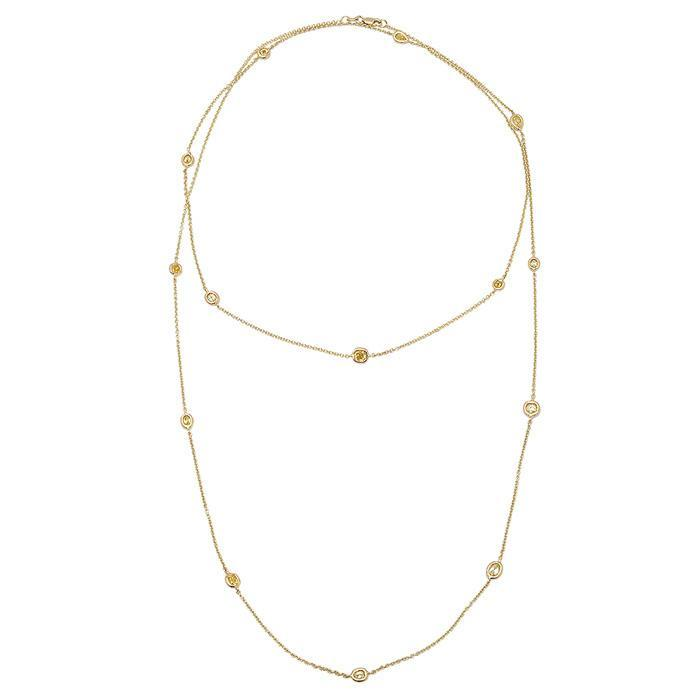 Fancy Yellow Diamond Station Necklace Yellow Gold