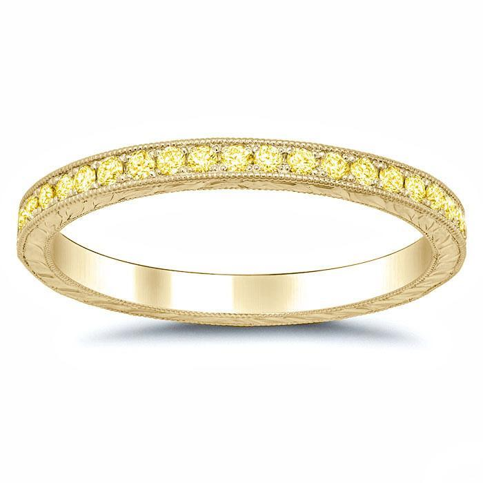 Fancy Yellow Diamond Yellow Gold Hand Engraved Eternity Ring Diamond Eternity Rings deBebians