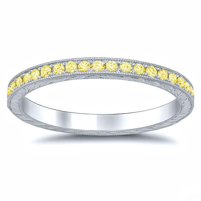 Fancy Yellow Diamond Yellow Gold Hand Engraved Eternity Ring