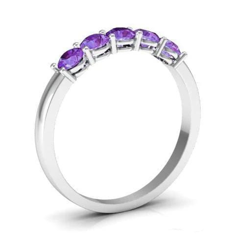 0.50cttw Shared Prong Amethyst Five Stone Ring Five Stone Rings deBebians