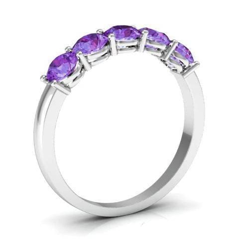 1.00cttw Shared Prong Amethyst Five Stone Ring Five Stone Rings deBebians