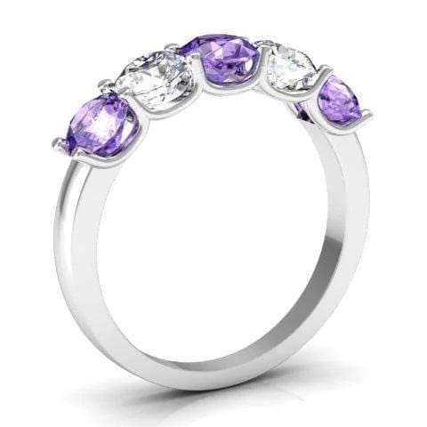 1.50cttw U Prong Diamond and Amethyst Band Five Stone Rings deBebians
