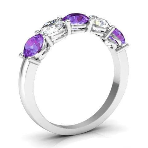 1.50cttw Shared Prong Diamond and Amethyst Ring Five Stone Rings deBebians