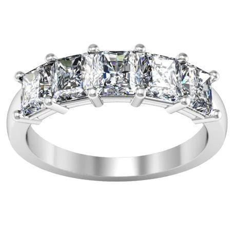2.00cttw Shared Prong Radiant Cut Diamond Five Stone Ring Five Stone Rings deBebians