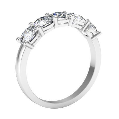 2.00cttw Shared Prong Cushion Cut Diamond Five Stone Ring Five Stone Rings deBebians