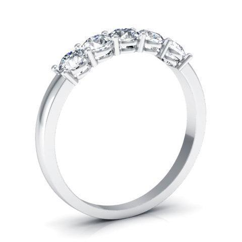 0.50cttw Shared Prong Round Diamond Five Stone Ring Five Stone Rings deBebians