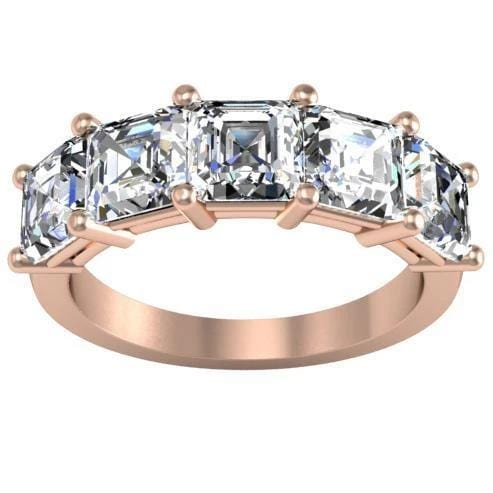 3.00cttw Shared Prong Asscher Diamond Five Stone Ring Five Stone Rings deBebians 14k Rose Gold
