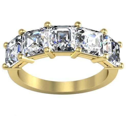 3.00cttw Shared Prong Asscher Diamond Five Stone Ring Five Stone Rings deBebians 14k Yellow Gold