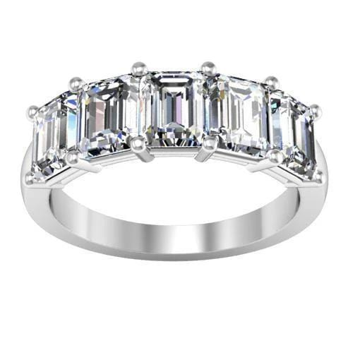3.00cttw Shared Prong Emerald Cut Diamond Five Stone Ring Five Stone Rings deBebians