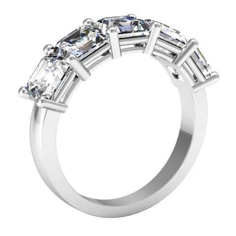 3.00cttw Shared Prong Asscher Diamond Five Stone Ring Five Stone Rings deBebians