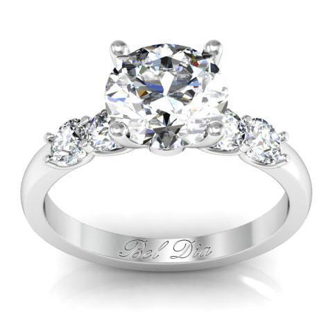 Five Diamond Engagement Ring Diamond Accented Engagement Rings deBebians