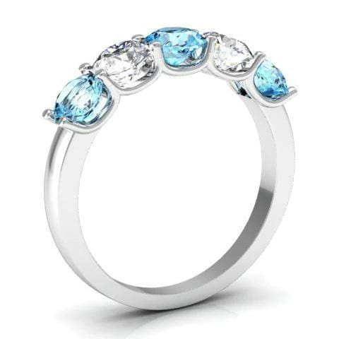 1.50cttw U Prong 5 Stone Ring with Aquamarine and Diamond Gemstones Five Stone Rings deBebians
