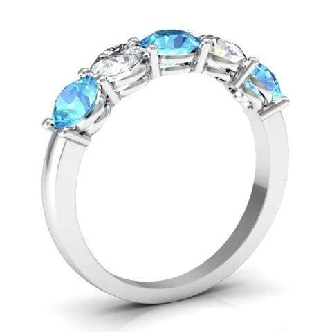 1.50cttw Shared Prong Five Stone Band with Aquamarine and Diamonds Five Stone Rings deBebians