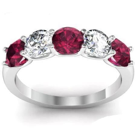 1.50cttw U Prong Garnet and Diamond Five Stone Band Five Stone Rings deBebians