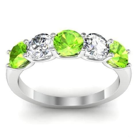 1.50cttw U Prong 5 Stone Ring with Peridot and Diamonds Five Stone Rings deBebians