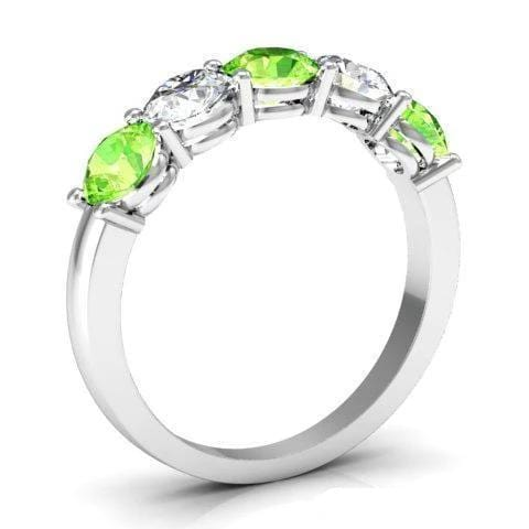 1.50cttw Shared Prong Peridot and Diamond Five Stone Band Five Stone Rings deBebians