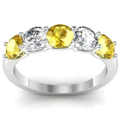 1.50cttw U Prong Yellow Sapphire and Diamond Five Stone Band Five Stone Rings deBebians
