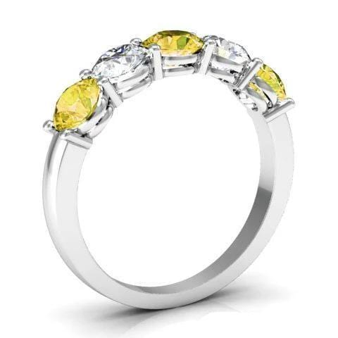 1.50cttw Shared Prong Yellow Sapphire and Diamond Five Stone Ring Five Stone Rings deBebians