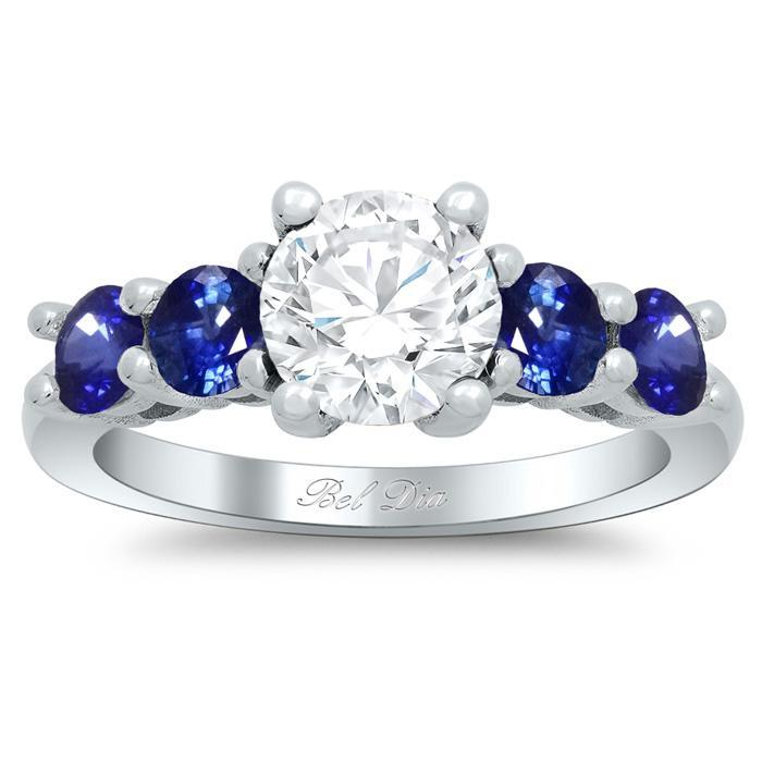 Five Stone Engagement Ring with Sapphire Accents