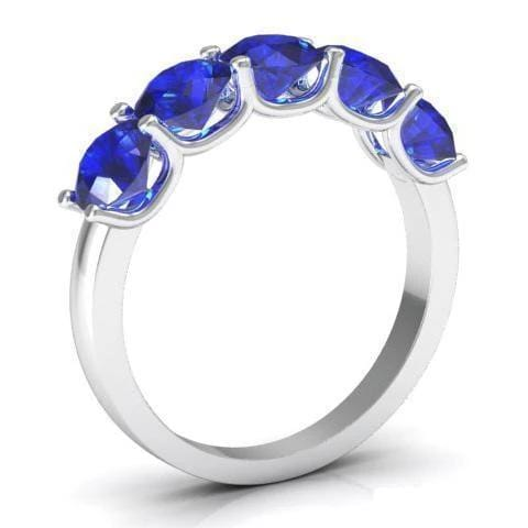 2.00cttw U Prong Blue Sapphire Five Stone Band Five Stone Rings deBebians