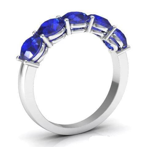 2.00cttw Shared Prong Blue Sapphire Five Stone Ring Five Stone Rings deBebians