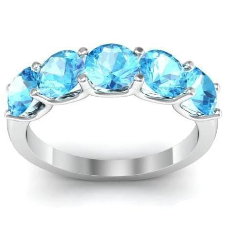 2.00cttw U Prong Aquamarine Five Stone Ring Five Stone Rings deBebians