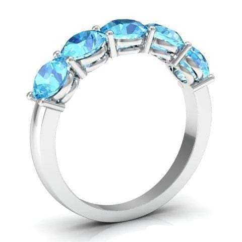 2.00cttw Shared Prong Aquamarine Five Stone Ring Five Stone Rings deBebians