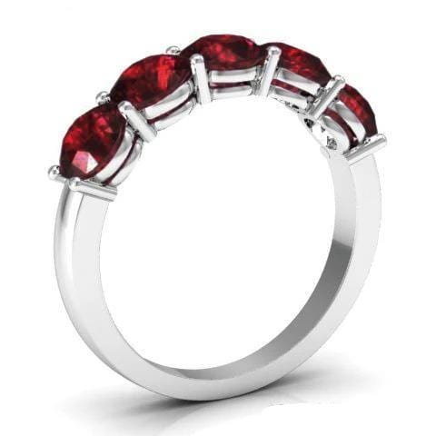 2.00cttw Shared Prong Garnet Five Stone Ring Five Stone Rings deBebians