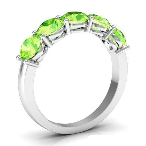 2.00cttw Shared Prong Five Stone Peridot Ring Five Stone Rings deBebians