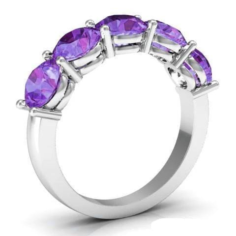 3.00cttw Shared Prong Amethyst Five Stone Ring Five Stone Rings deBebians