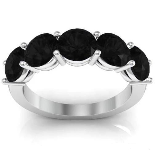 3.00cttw Shared Prong Black Diamond Five Stone Ring Five Stone Rings deBebians