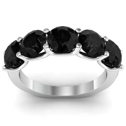 3.00cttw U Prong Black Diamond Five Stone Band Five Stone Rings deBebians