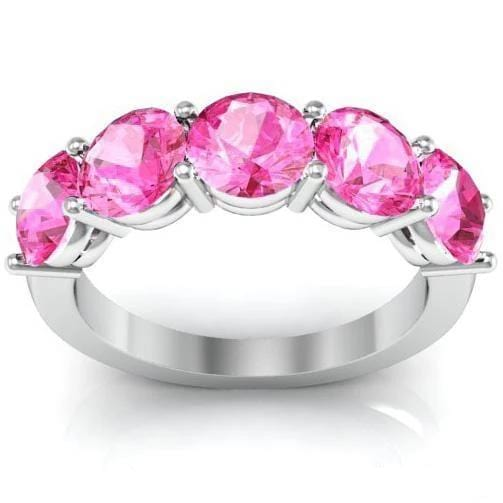 3.00cttw Shared Prong Pink Sapphire Five Stone Ring Five Stone Rings deBebians