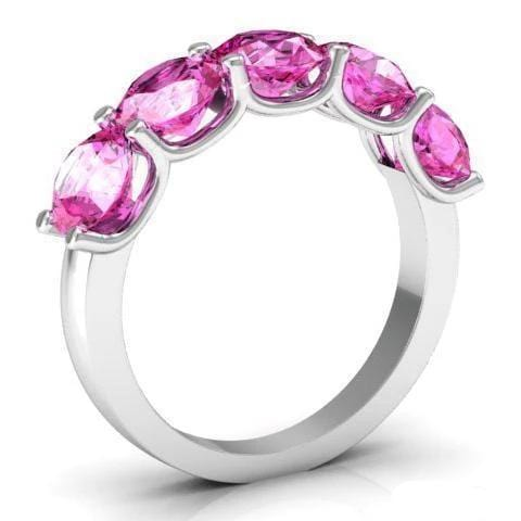 3.00cttw U Prong Pink Sapphire Five Stone Band Five Stone Rings deBebians