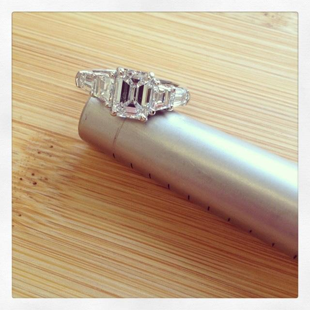 Five Stone Ring with Trapezoids and Bullet Diamonds Diamond Accented Engagement Rings deBebians