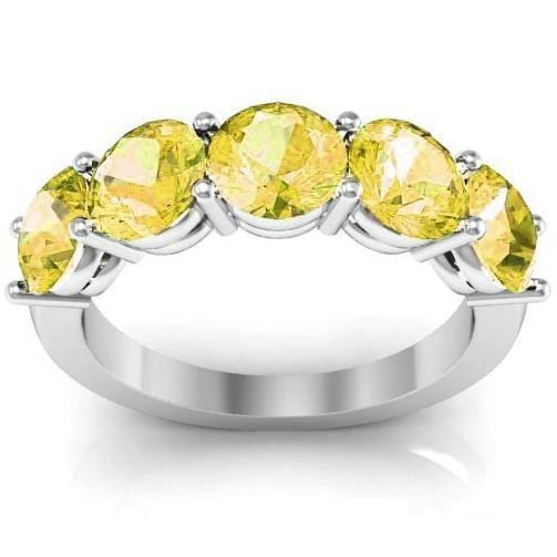 3.00cttw Shared Prong Yellow Sapphire Five Stone Ring Five Stone Rings deBebians