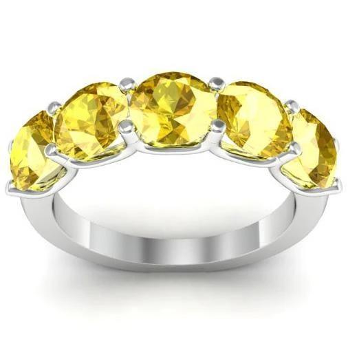 3.00cttw U Prong Yellow Sapphire Five Stone Band Five Stone Rings deBebians