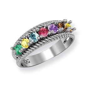 14k Mother's Ring with Seven Birthstones Mother's Rings deBebians