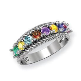14k Mother's Ring with Eight Birthstones Mother's Rings deBebians
