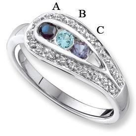 14k White Gold Mother's Ring with Birthstones